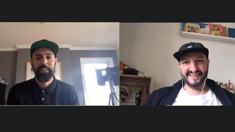 Les deux artistes interviewés par vidéoconférence.