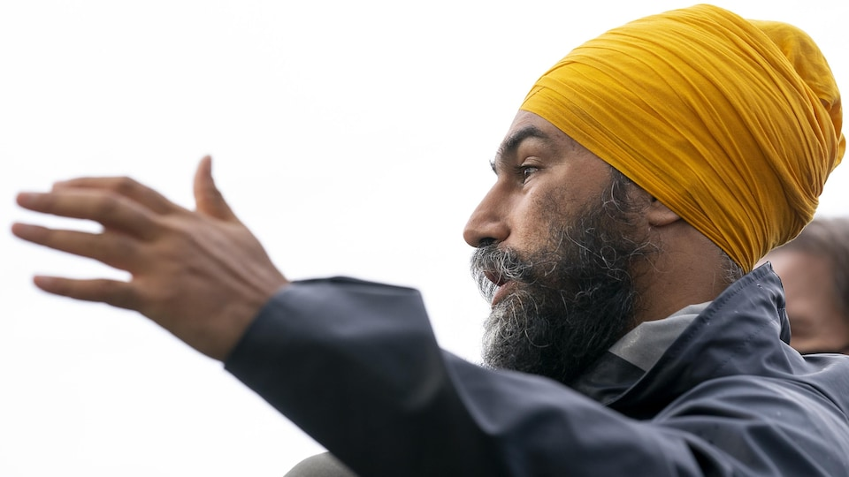 Jagmeet Singh at the press conference.