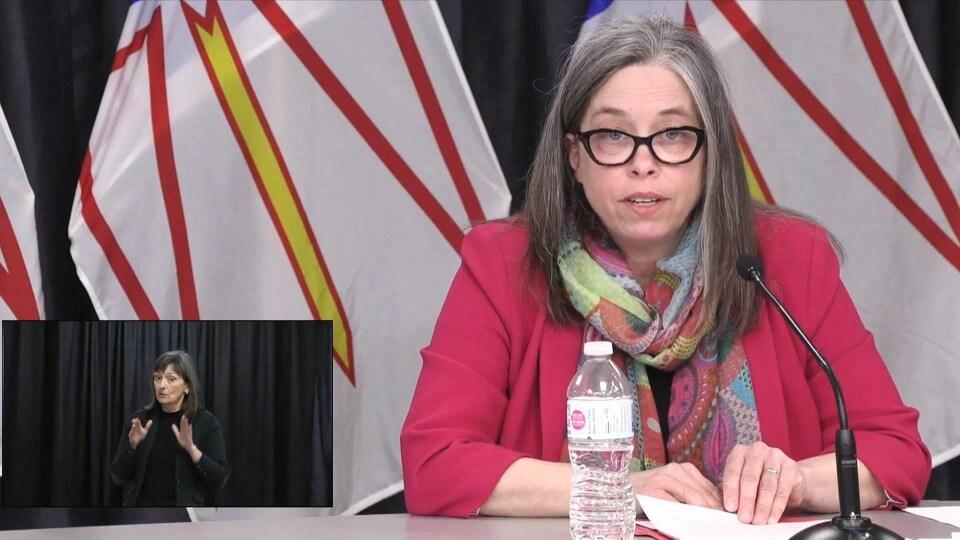 Janice Fitzgerald en conférence de presse.