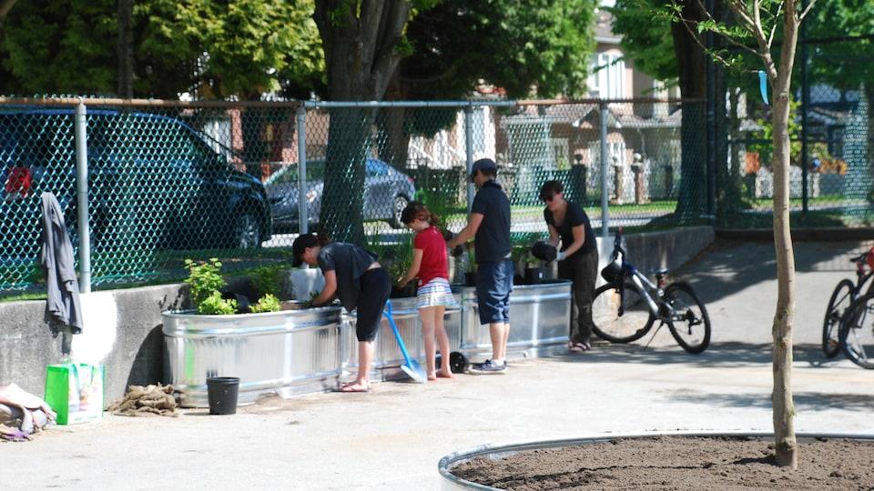 Deux enfants et des parents sont en train de planter des arbustes dans une jardinière.