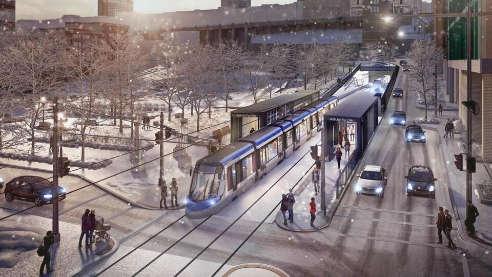 Selon les plans, il y aurait une station de tramway au jardin Jean-Paul-L'Allier.