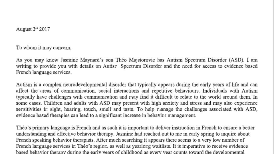 Capture d'écran d'une lettre en anglais.