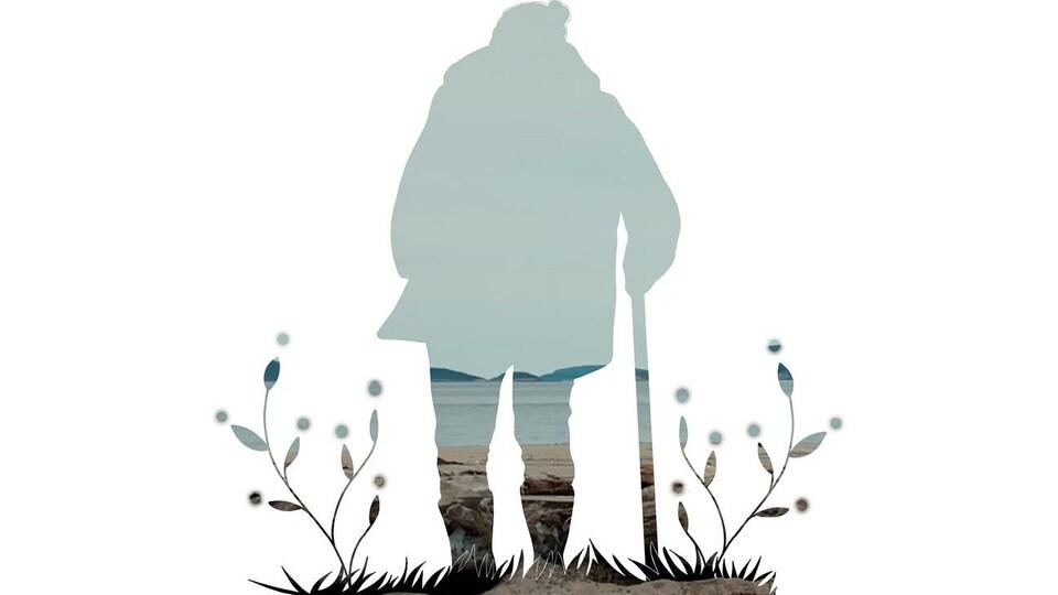 Une silhouette de femme sur un fond blanc.
