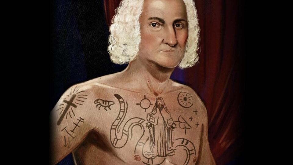 Sur cette illustration, l'homme apparaît torse nu avec des tatouages.