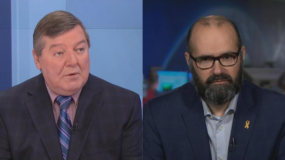 Deux hommes de face, dans un collage, qui ne sont pas dans la même pièce. Celui de droite a une barbe et des lunettes et celui de gauche ne porte pas de lunettes ni de barbe. Ils sont en complet.