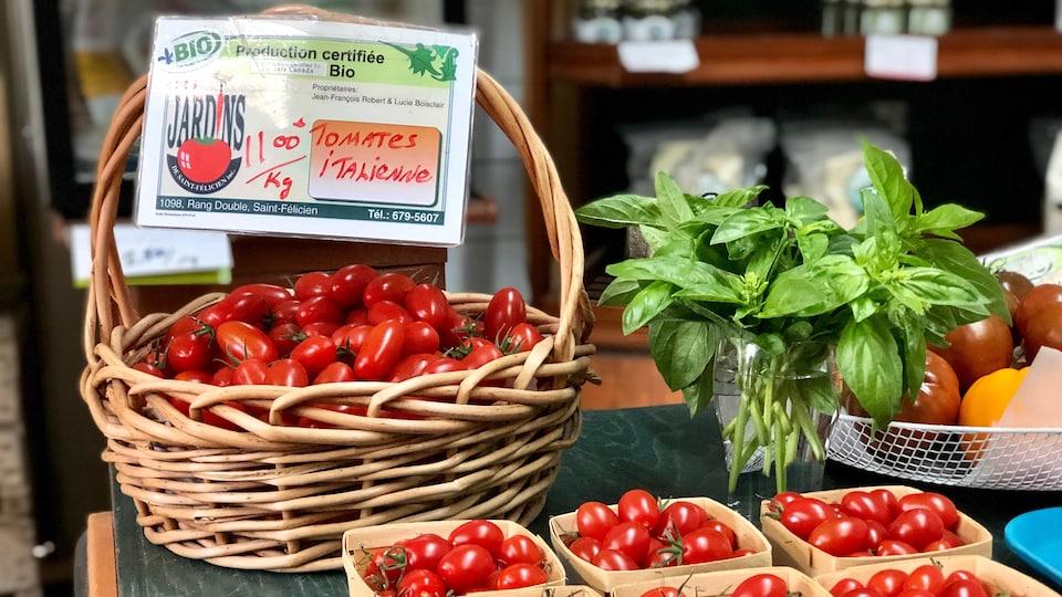 Paniers de tomates.