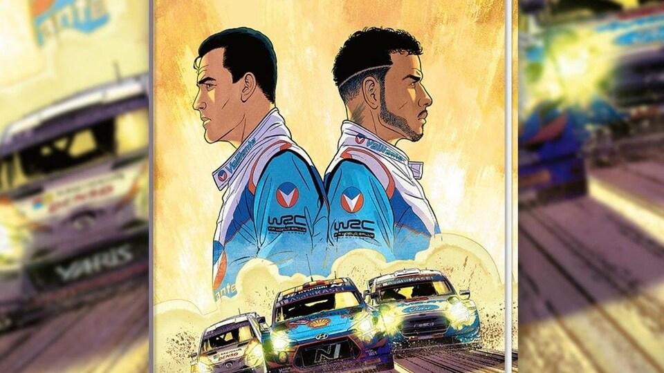 Dessin de deux coureurs automobiles, dos à dos, avec trois voitures de course au bas de l'image.