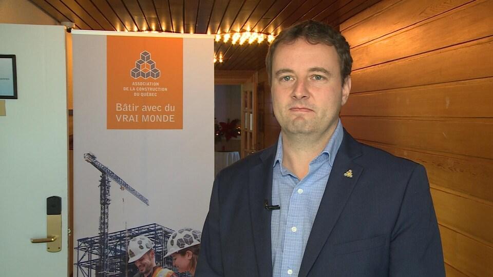Jean-Philippe Cliche lors du passage de l'Association de la construction du Québec à Sept-Îles.