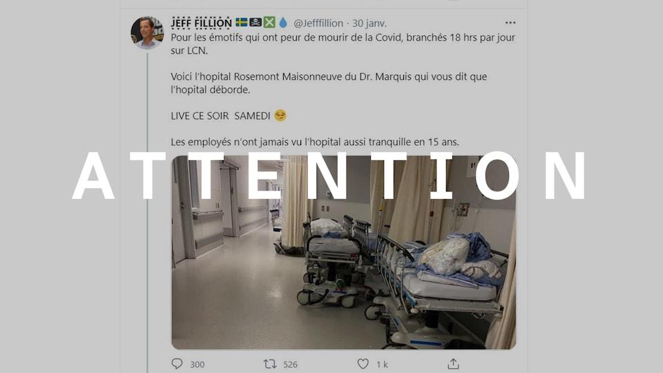 """Capture d'écran d'un tweet de Jeff Fillion publié le 30 janvier 2021. La mention """"Attention"""" a été superposée au tweet."""