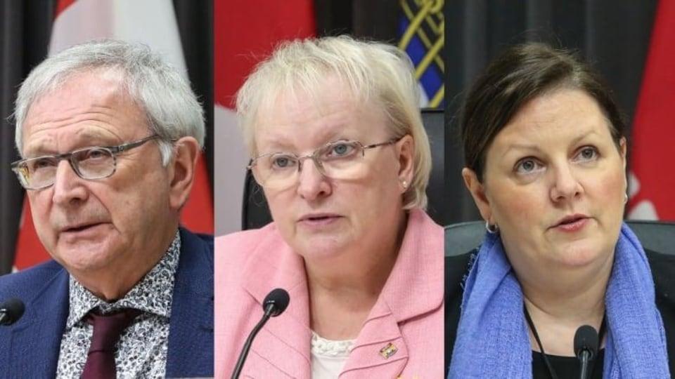 Le premier ministre, Blaine Higgs, la ministre de la Santé, Dorothy Shephard, et la médecin hygiéniste en chef, la Dre Jennifer Russell.