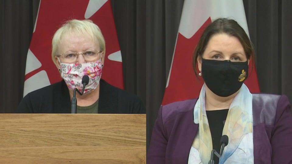La ministre de la Santé du Nouveau-Brunswick, Dorothy Shephard (à gauche), et la médecin hygiéniste en chef, la Dre Jennifer Russell.