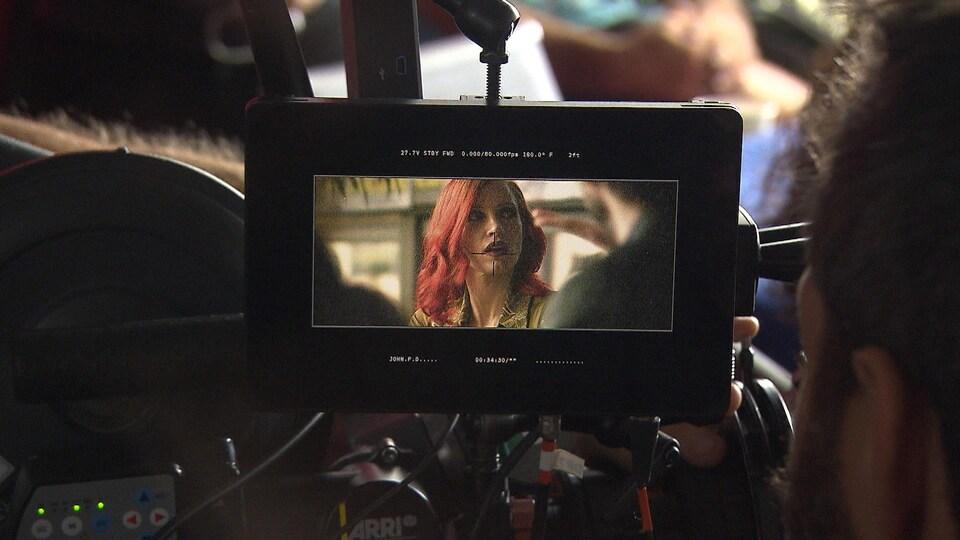 L'actrice Jessica Chastain sur un plateau de tournage.