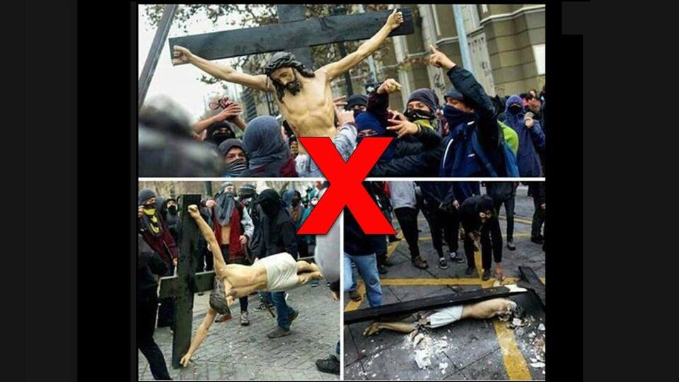 Trois photos montrent des personnes masquées fracasser un crucifix dans la rue.