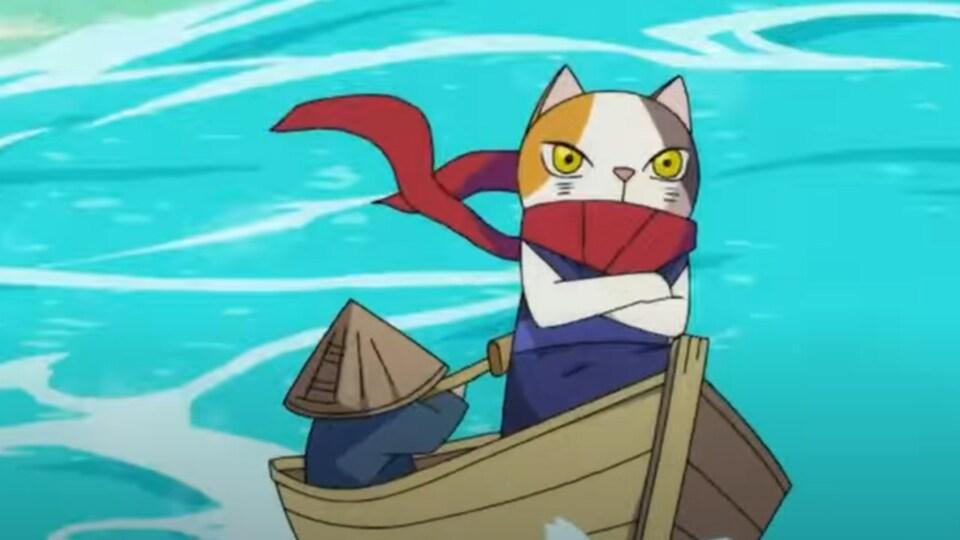 Capture d'écran de l'animation d'un chat déterminé dans un canot sur l'eau.