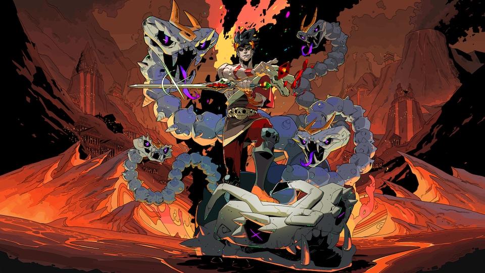 Un personnage de jeu vidéo ressemblant à un dessin animé avec des serpents dans ce qui semble être une caverne.