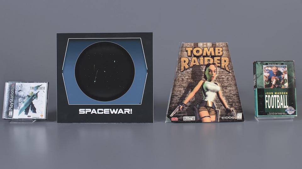 Une photo montrant les boîtiers de Final Fantasy 7, Spacewar, Tomb Raider et John Madden Football