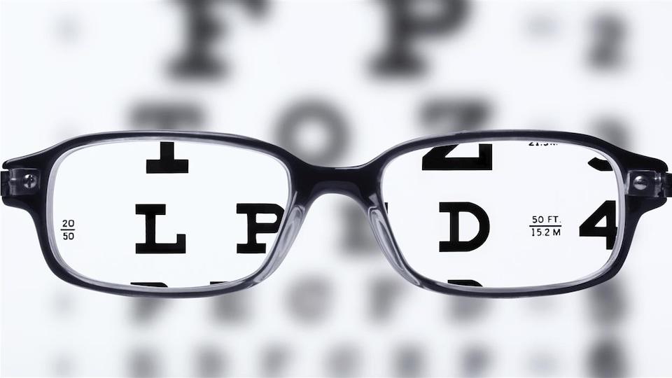 Lunettes devant un tableau optométrique