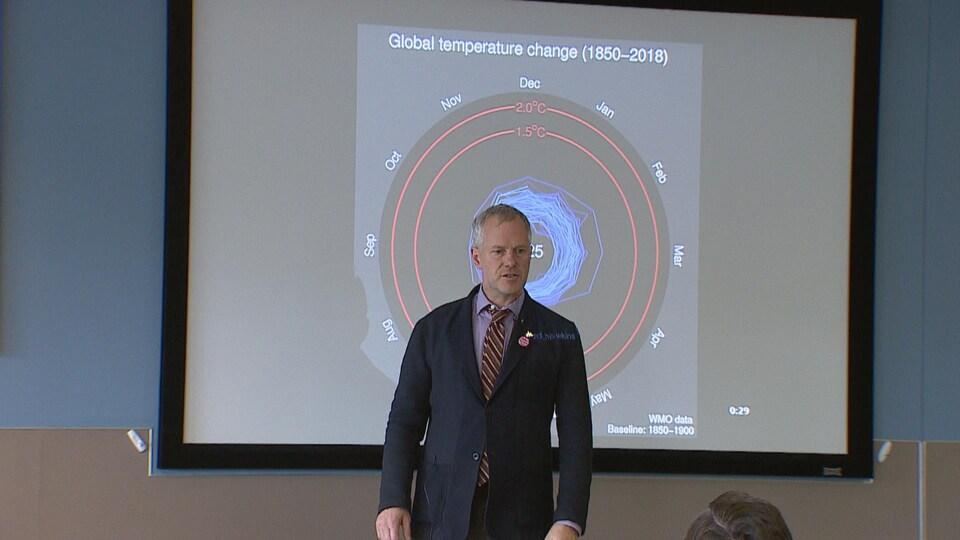 Joe Vipond debout devant une carte présentant les fluctuations de température sur la planète pendant une présentation sur les changements climatiques.