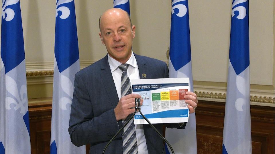 Joël Arseneau présente un tableau avec les différents niveaux d'alerte du gouvernement provincial en matière de COVID-19.