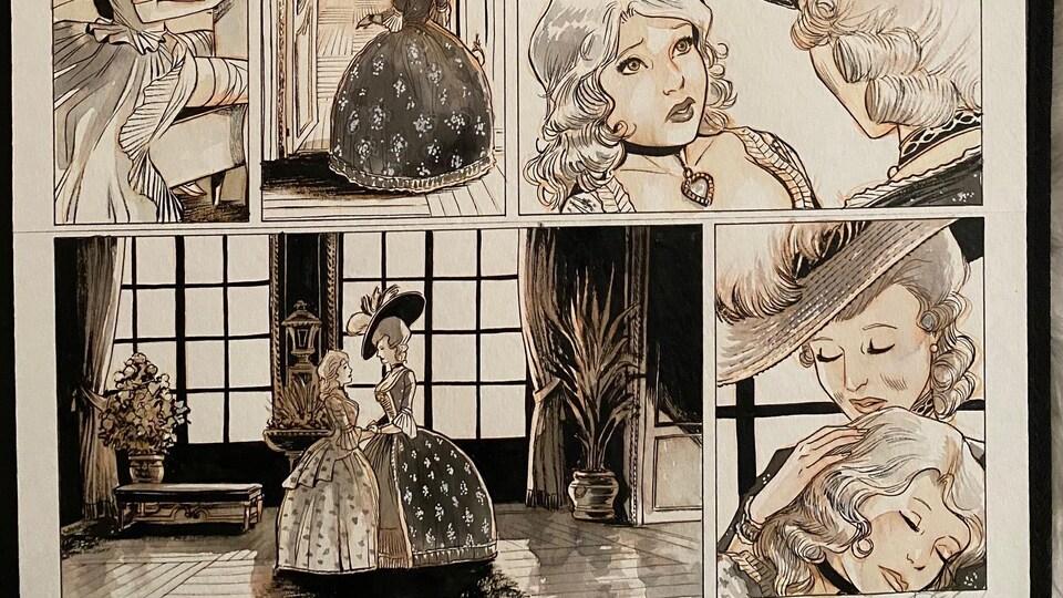 Les illustrations de la trilogie Liaisons dangereuses - préliminaires- sont signées DJIEF, un dessinateur de Québec.