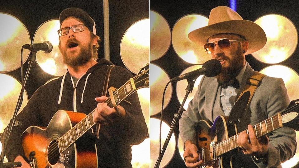 Montage photo de Joey Robin Haché et de Menoncle Jason en train de chanter en s'accompagnant à la guitare devant le même décor, lors de deux apparitions à la même émission.