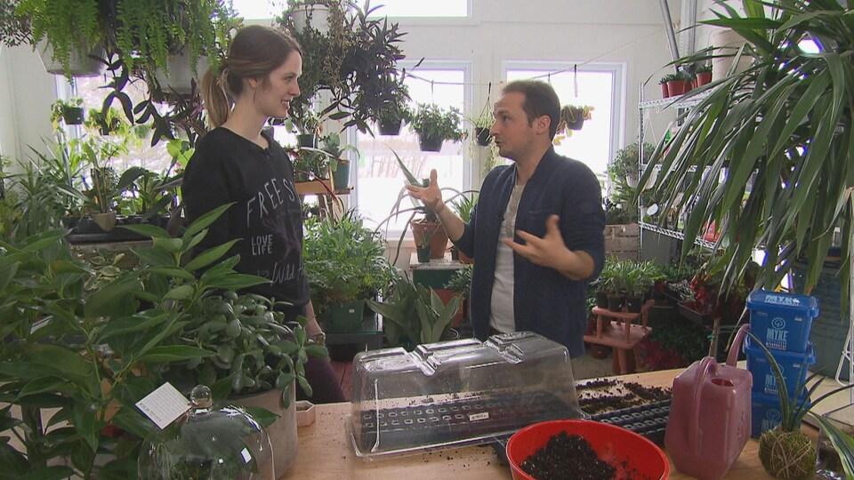 Mathieu Ouellette et Johanie Bilodeau en entrevue dans une serre.