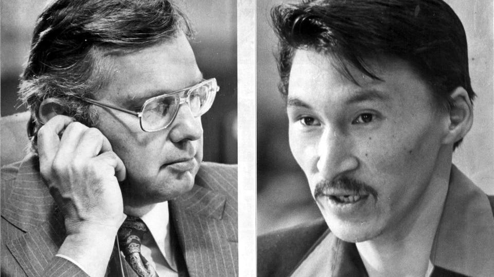 Deux photos juxtaposées de Thomas Berger et de John Amagealik, témoin à la Commission sur le pipeline de la vallée du Mackenzie.
