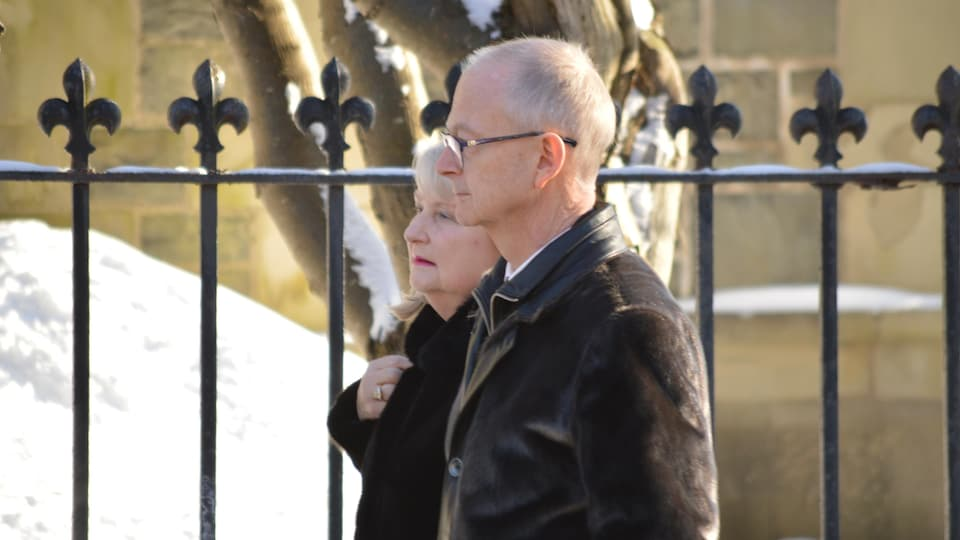 Le chef du Parti progressiste-conservateur de Terre-Neuve-et-Labrador, Ches Crosbie, aux funérailles d'État de son père, John Crosbie, le 16 janvier 2020.