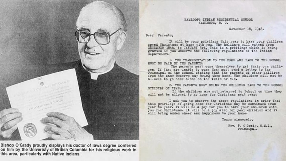 Bishop John Percussion O'Grady, left.  Well, a letter sent in 1948 to the parents of students at the Native Residential School.