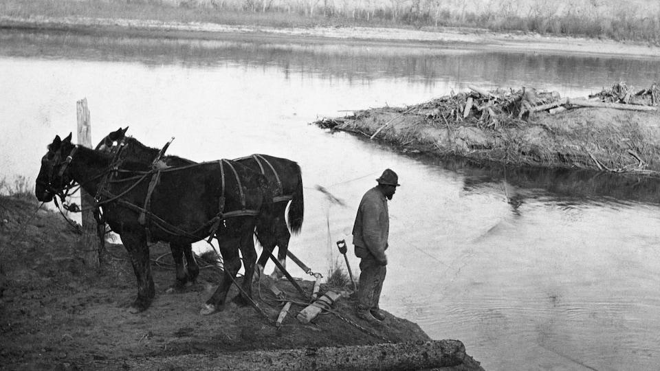 John Ware se tient debout près d'une rivière avec deux chevaux.