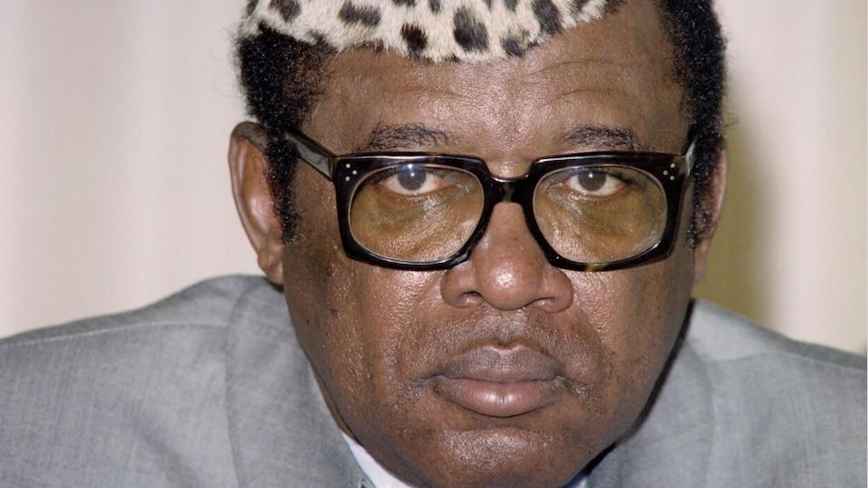 L'ancien président congolais, Mobutu Sese Seko en janvier 1987, à N'Djamena, au Tchad.