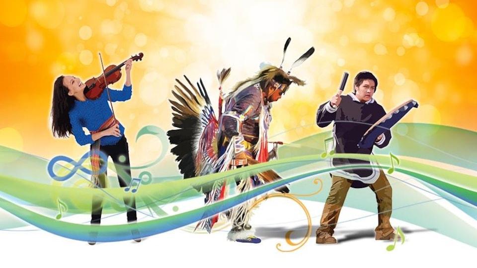 Trois Autochtones, dont une joue du violon, un deuxième danse et un dernier frappe un tambour.