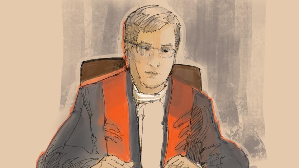 Dessin : le juge François Huot explique son jugement.