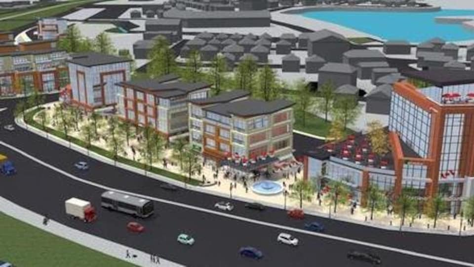 Le plan pour le Junction Village montre un hôtel et des restaurants, avec le lac Jones en arrière-plan.