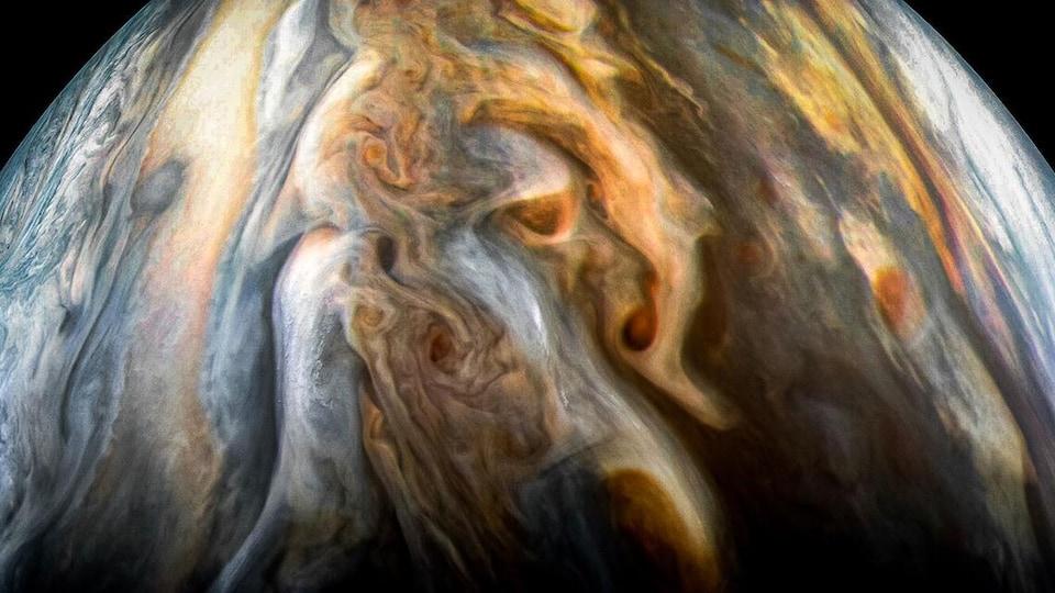 La région équatoriale sud de Jupiter telle que captée par Juno en septembre 2017.