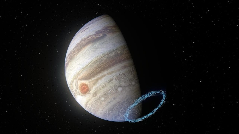 Vue d'artiste des vents dans la stratosphère de Jupiter près du pôle sud de la planète.