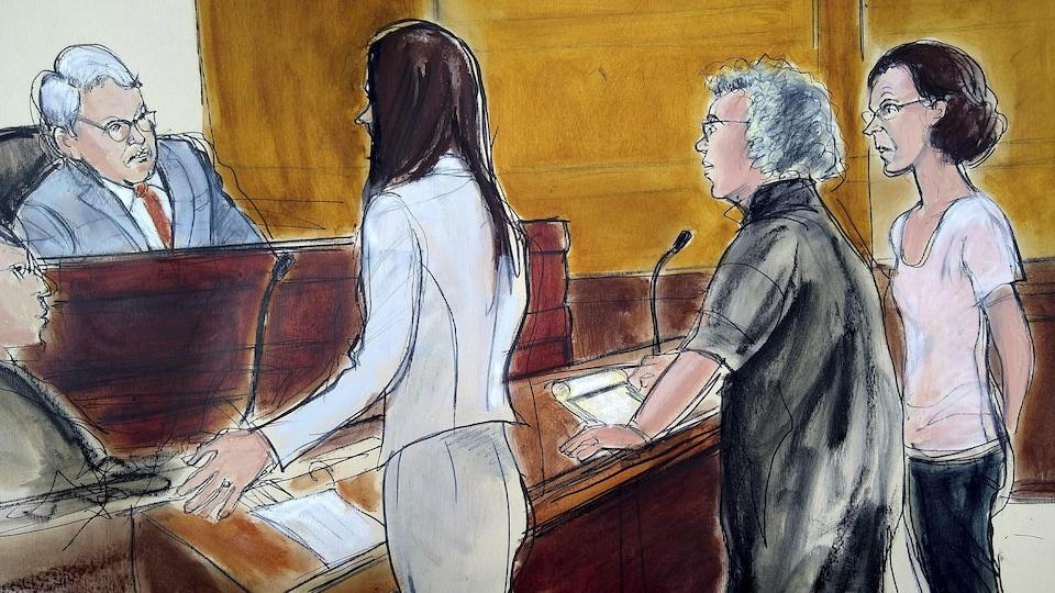 Un dessin d'une audience devant un juge, au tribunal.