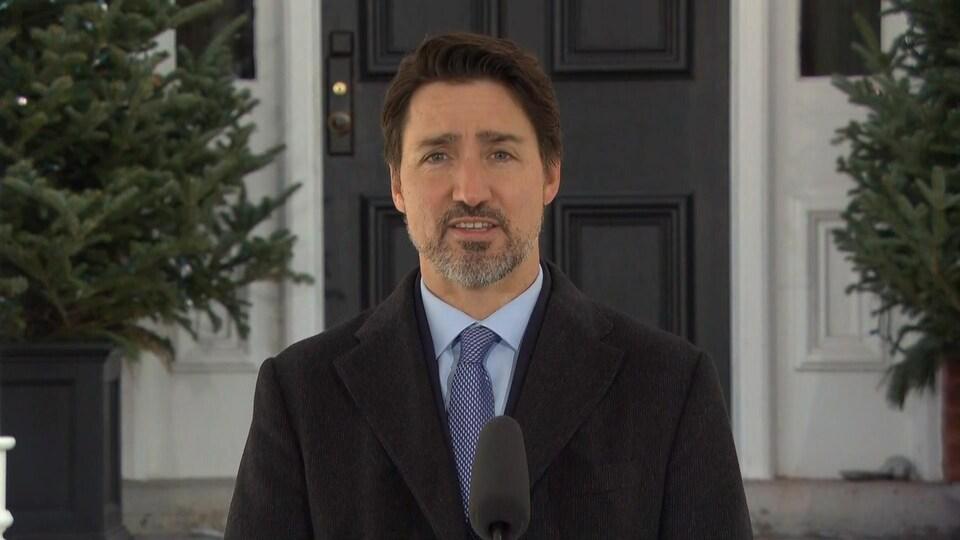 Justin Trudeau lors de son point de presse quotidien à Ottawa.