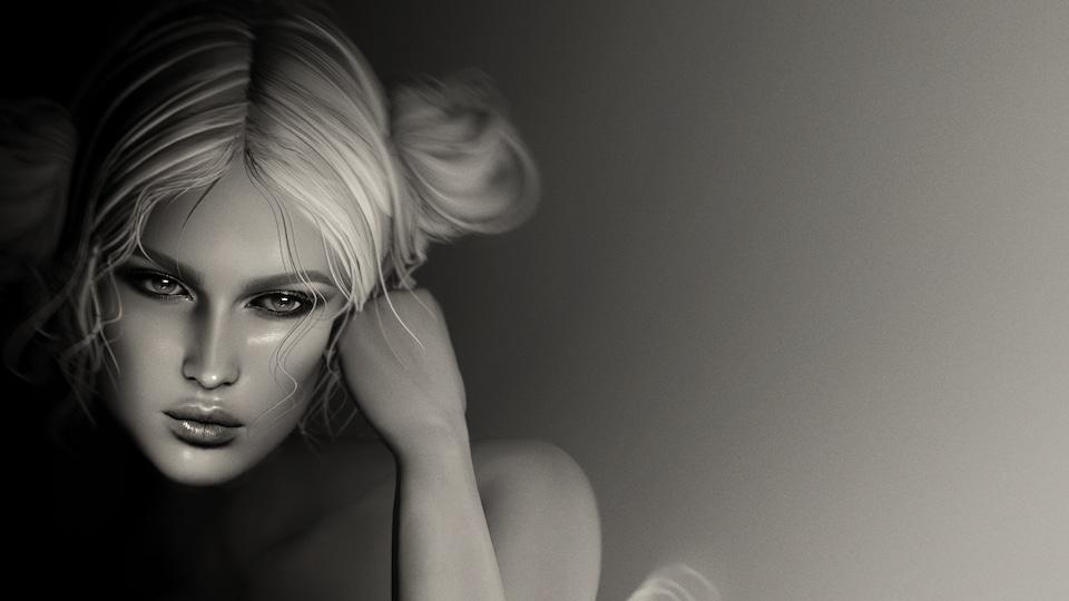 Détail de <i>Ballerina in the Shadow</i>, photographie virtuelle en noir et blanc d'Anouk A., l'avatar 3D créé par Karoline Georges, représentant le visage d'une femme pensive, visage appuyé sur son poing.