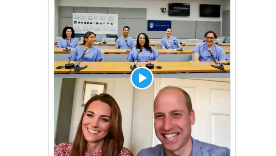 En bas, Kate Middleton et le prince Williams, en haut des travailleurs de la santé lors d'une rencontre virtuelle.