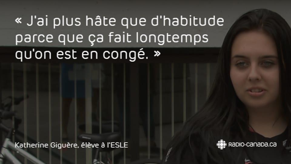 Katherine Giguère, élève de l'École secondaire Les Etchemins