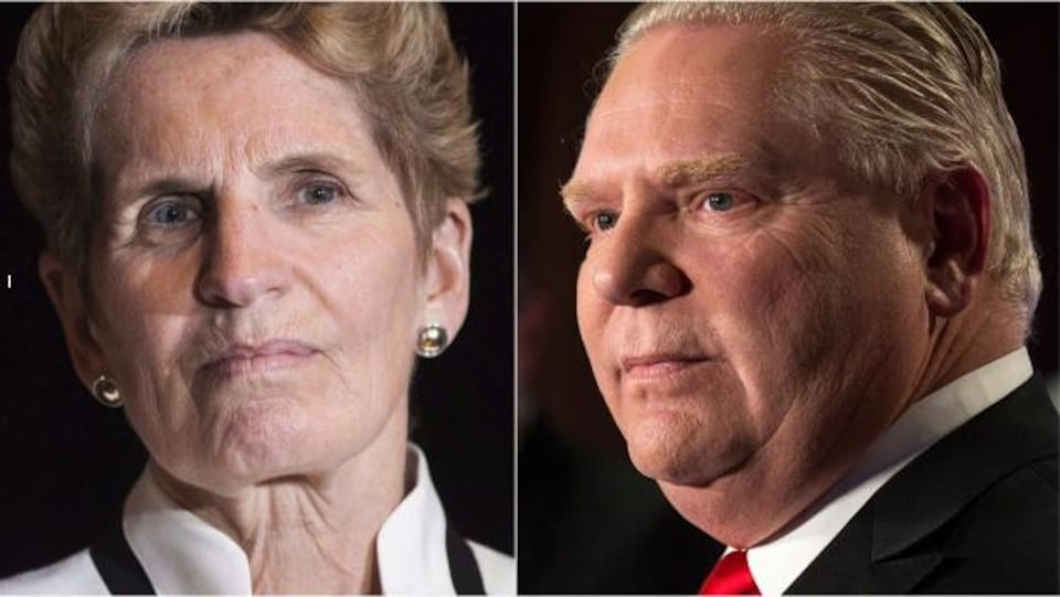 Photo en mosaïque de Kathleen Wynne et de Doug Ford.