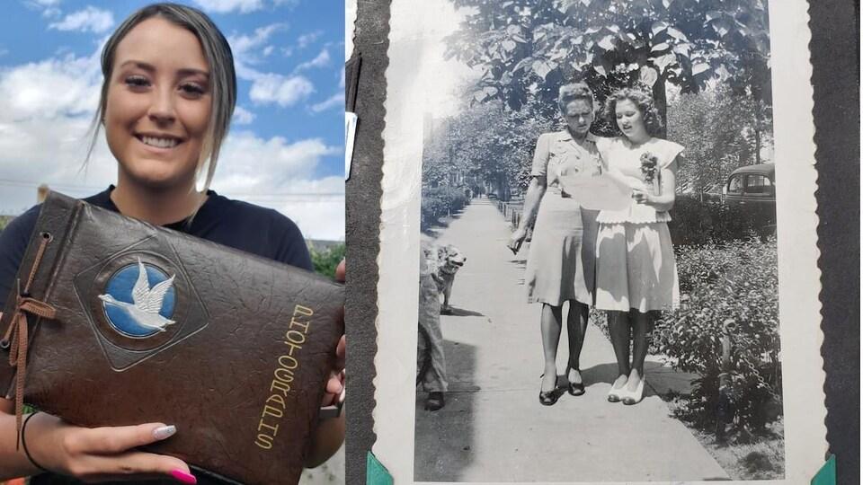 Une femme tient un album à gauche de la photo et à droite, il y a une photo d'époque avec deux jeunes femmes.