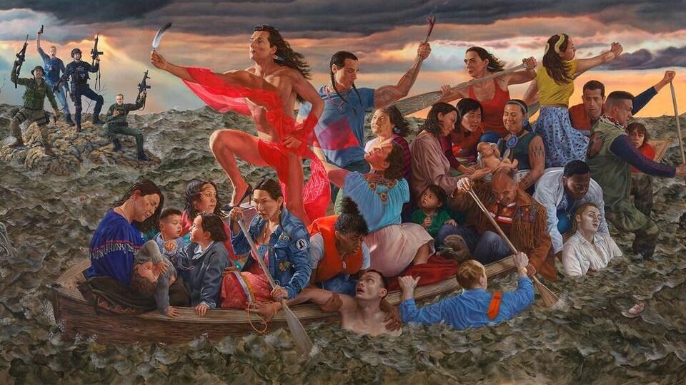 Photo montrant la toile. On y voit des Autochtones dans une barque qui prend l'eau alors qu'au loin des hommes sur un rocher brandissent leurs armes modernes.