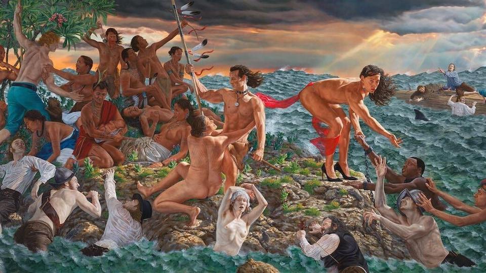 La toile Welcoming the Newcomers, exposée au Met, montre des Autochtones accueillant de nouveaux arrivants, naufragés d'une tempête.