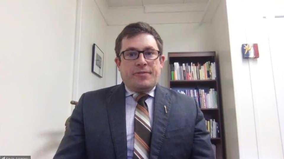 Kevin Arseneau, député vert de Kent-Nord, en entrevue par vidéoconférence, le 19 novembre 2020.