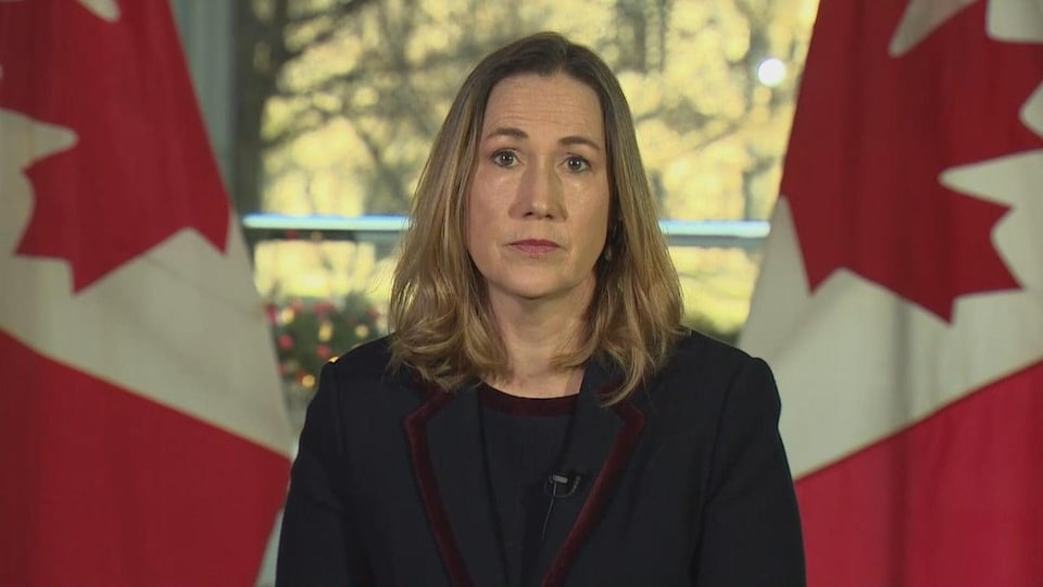Plan moyen de Kirsten Hillman avec, derrière elle, deux drapeaux du Canada.
