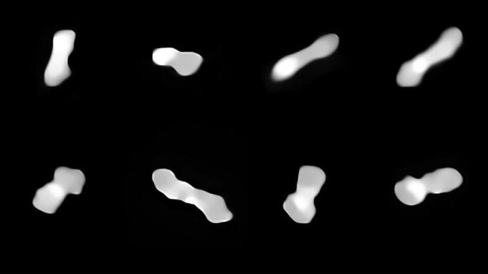Onze images montrant l'astéroïde Kleopatra sous divers angles.