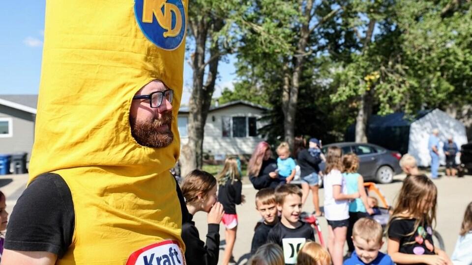 La mascotte du concours Kraft Hockeyville à Pense, en Saskatchewan.
