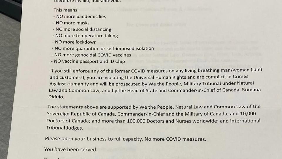 Une photo de la lettre envoyée à la pharmacie Kristen's.